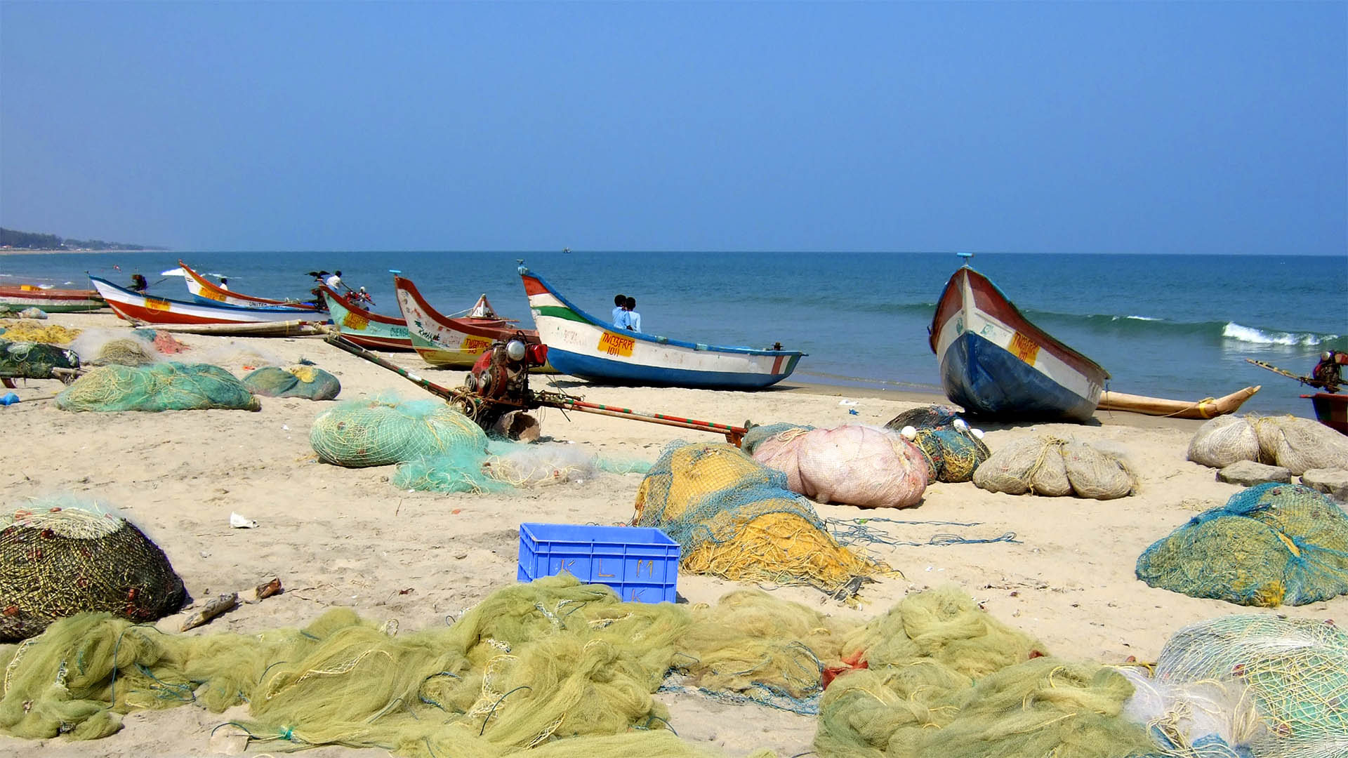 Mamallapuram sahilinde balıkçılar